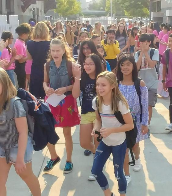 Students walking in on the 1st day